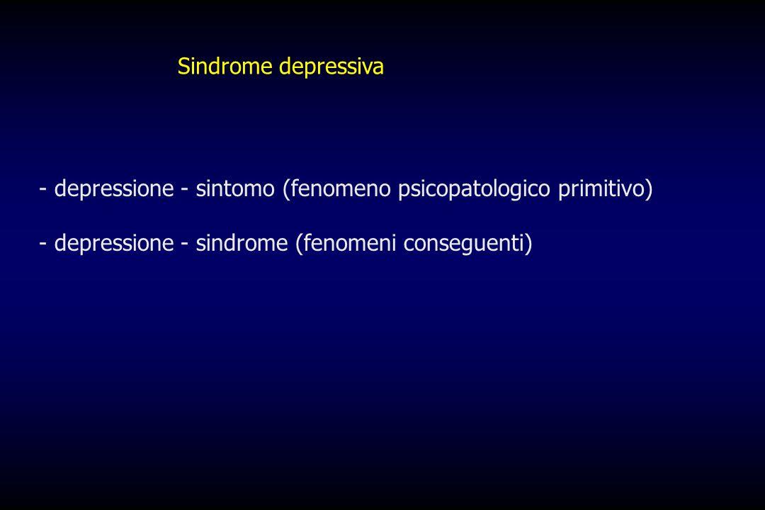 Sindrome depressivadepressione - sintomo (fenomeno psicopatologico primitivo) depressione - sindrome (fenomeni conseguenti)