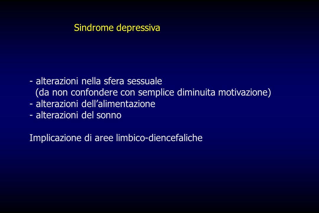 Sindrome depressiva alterazioni nella sfera sessuale. (da non confondere con semplice diminuita motivazione)