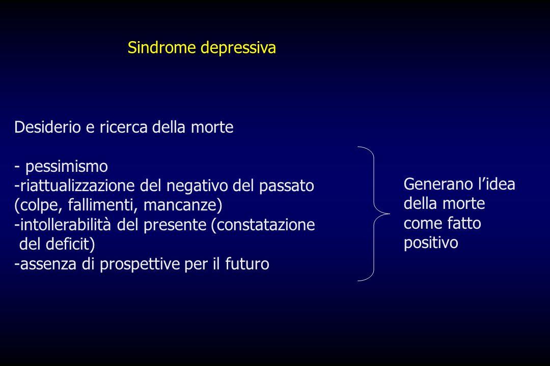 Sindrome depressiva Desiderio e ricerca della morte. - pessimismo.