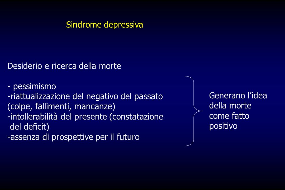 Sindrome depressivaDesiderio e ricerca della morte. - pessimismo. riattualizzazione del negativo del passato (colpe, fallimenti, mancanze)