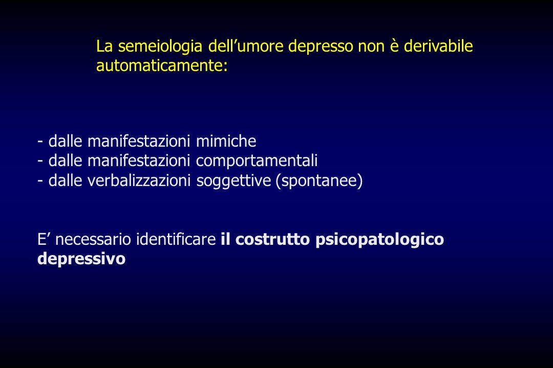 La semeiologia dell'umore depresso non è derivabile automaticamente: