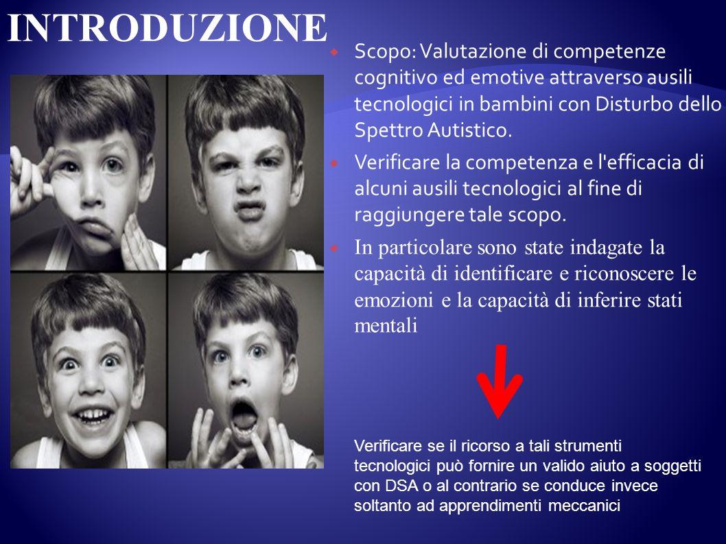 INTRODUZIONE Scopo: Valutazione di competenze cognitivo ed emotive attraverso ausili tecnologici in bambini con Disturbo dello Spettro Autistico.