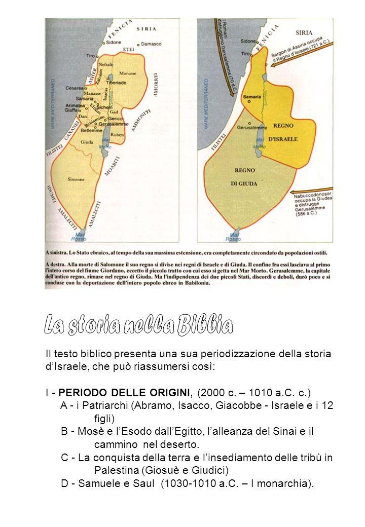 La storia nella Bibbia Il testo biblico presenta una sua periodizzazione della storia d'Israele, che può riassumersi così: