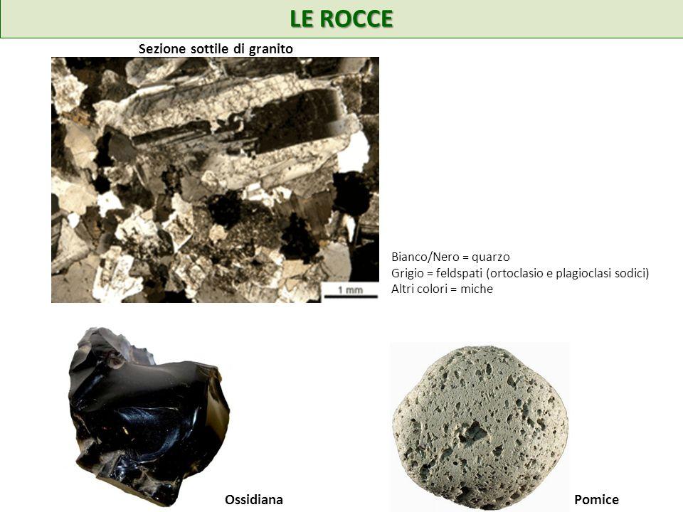 LE ROCCE Sezione sottile di granito Ossidiana Pomice