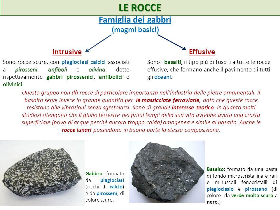 LE ROCCE Famiglia dei gabbri (magmi basici) Intrusive Effusive