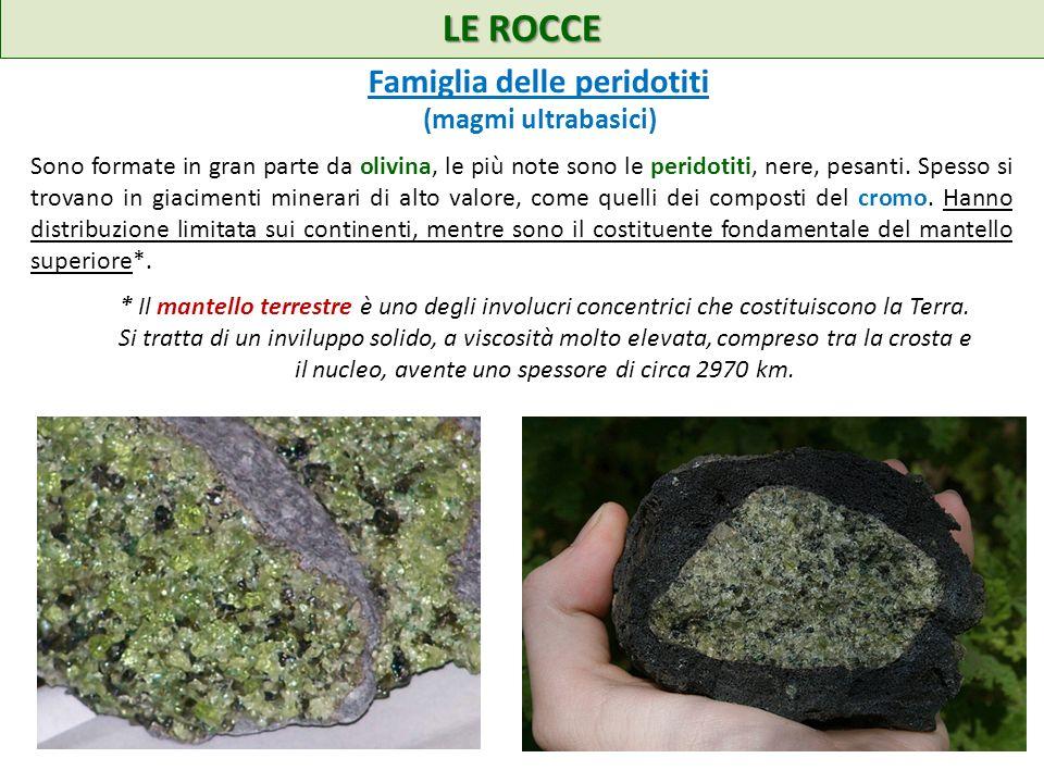 LE ROCCE Famiglia delle peridotiti (magmi ultrabasici)