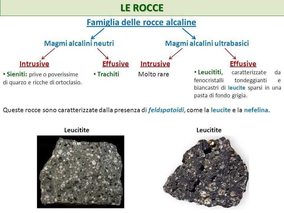 LE ROCCE Famiglia delle rocce alcaline Magmi alcalini neutri