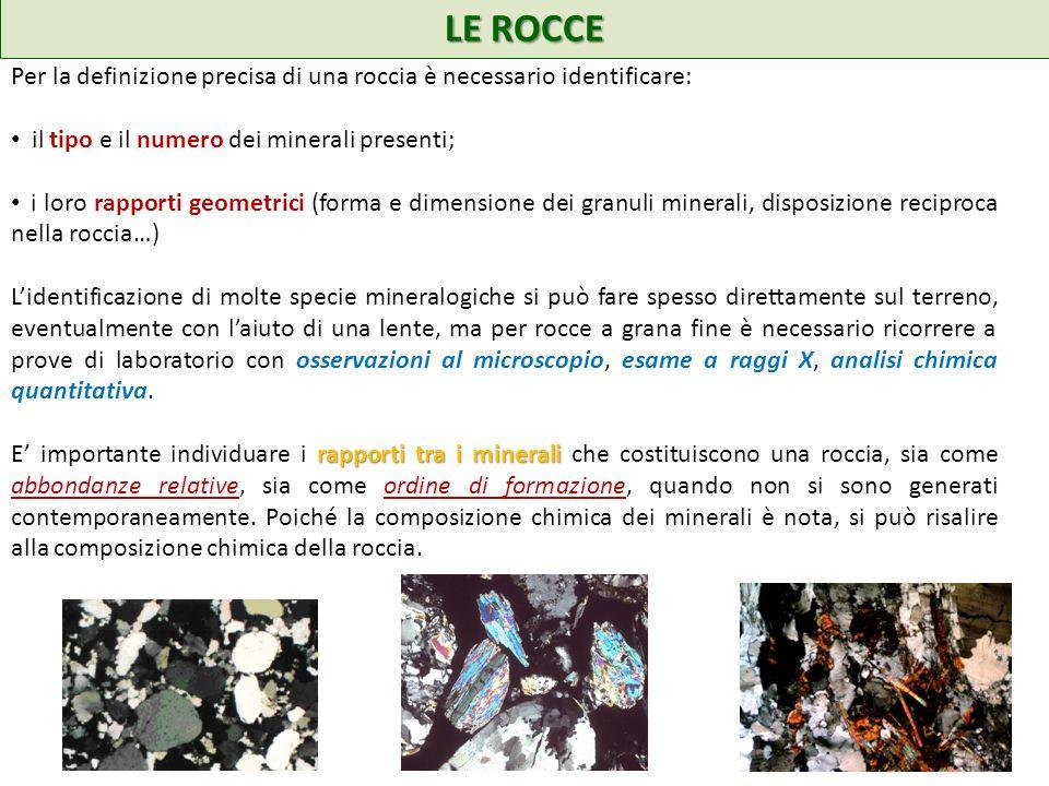 LE ROCCE Per la definizione precisa di una roccia è necessario identificare: il tipo e il numero dei minerali presenti;