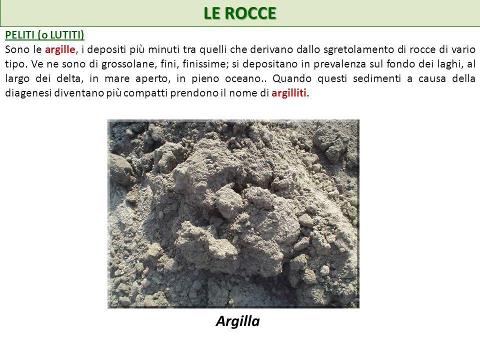 LE ROCCE Argilla PELITI (o LUTITI)