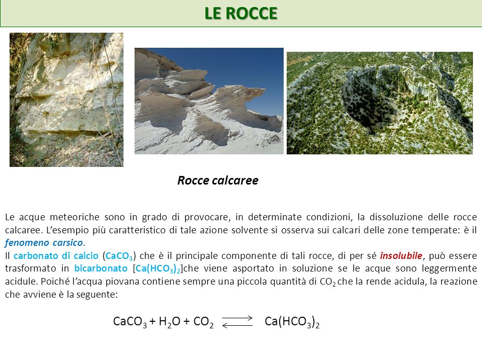 LE ROCCE Rocce calcaree CaCO3 + H2O + CO2 Ca(HCO3)2