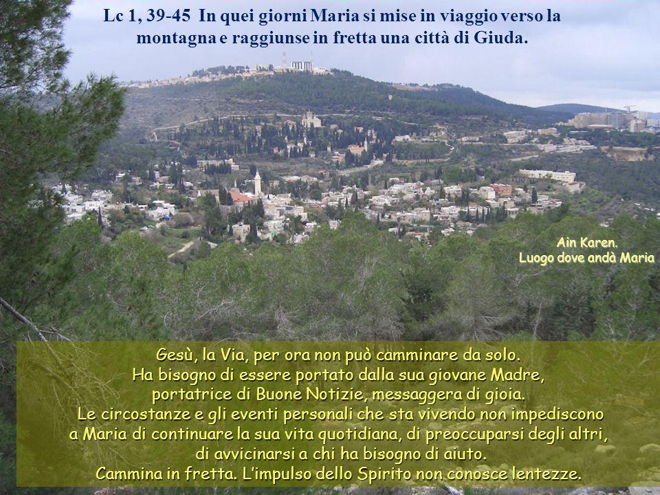Lc 1, 39-45 In quei giorni Maria si mise in viaggio verso la montagna e raggiunse in fretta una città di Giuda.