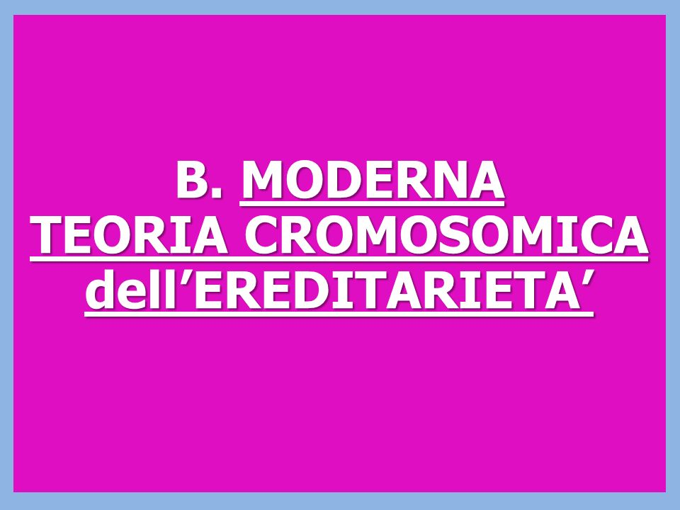 B. MODERNA TEORIA CROMOSOMICA dell'EREDITARIETA'