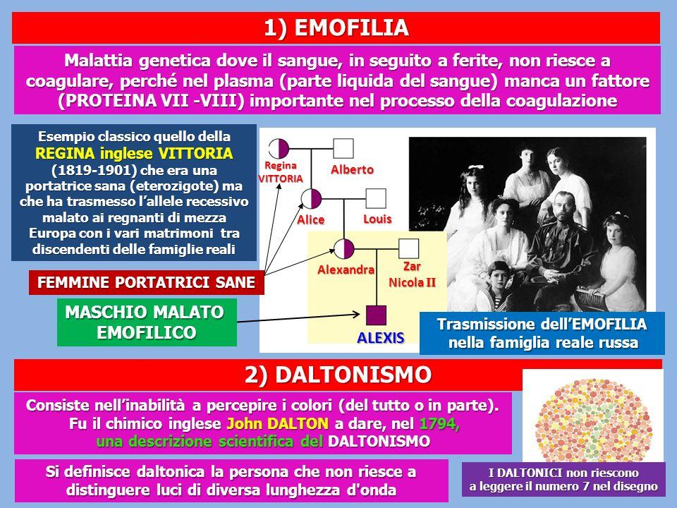 1) EMOFILIA 2) DALTONISMO
