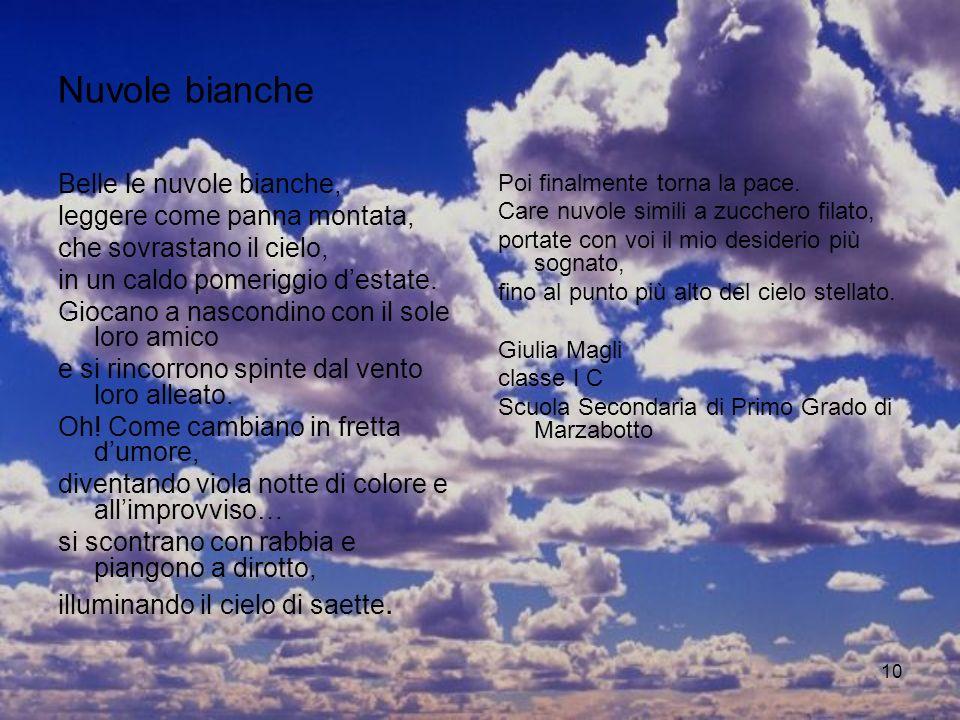 Nuvole bianche Belle le nuvole bianche, leggere come panna montata,