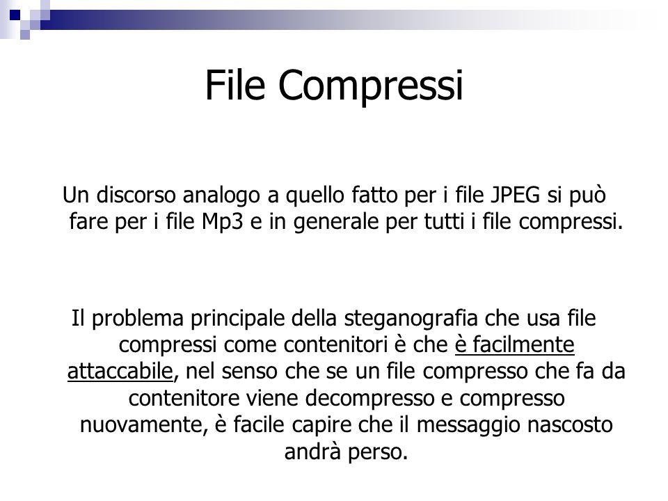 File Compressi Un discorso analogo a quello fatto per i file JPEG si può fare per i file Mp3 e in generale per tutti i file compressi.