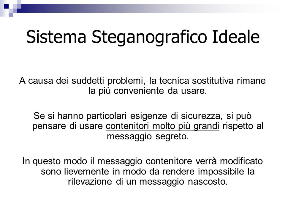 Sistema Steganografico Ideale