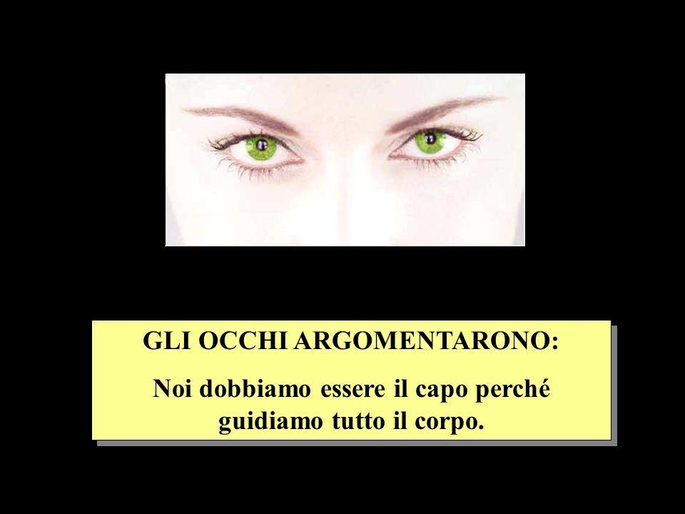 GLI OCCHI ARGOMENTARONO: