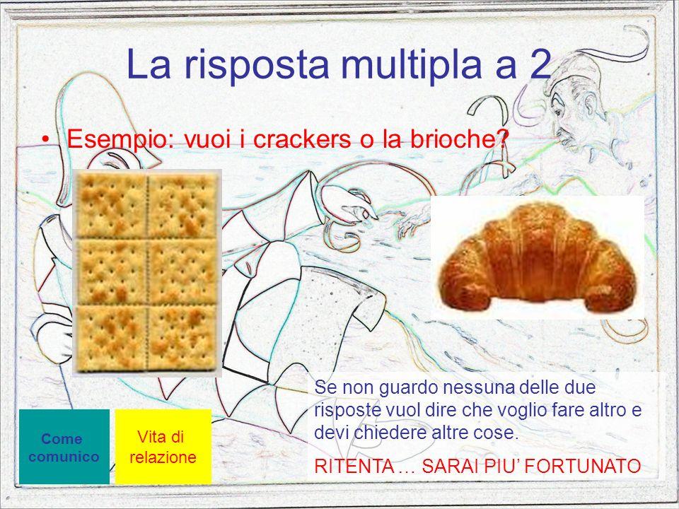 La risposta multipla a 2 Esempio: vuoi i crackers o la brioche