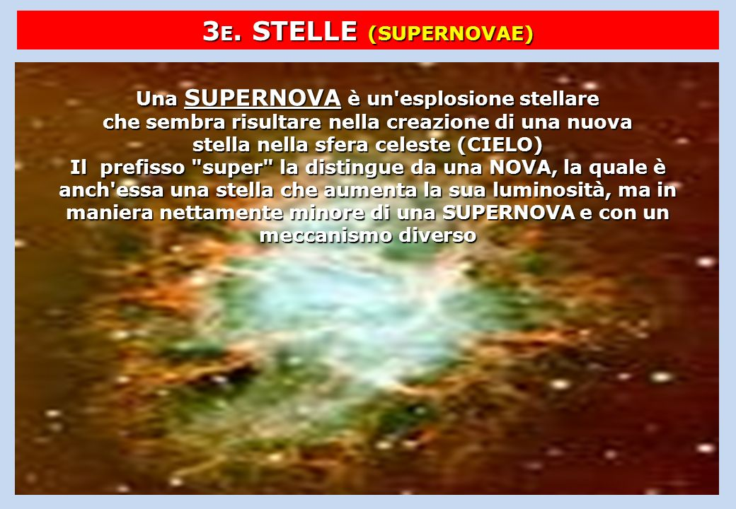 3E. STELLE (SUPERNOVAE)