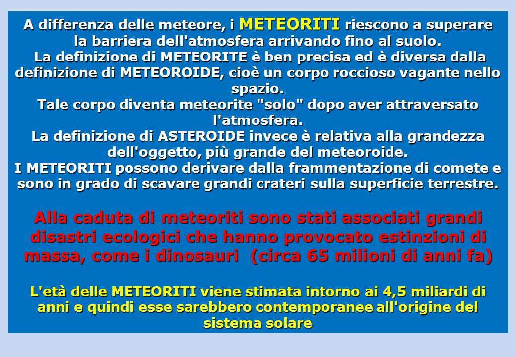 A differenza delle meteore, i METEORITI riescono a superare la barriera dell atmosfera arrivando fino al suolo.