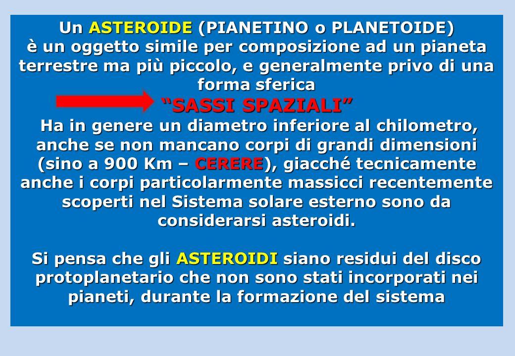 Un ASTEROIDE (PIANETINO o PLANETOIDE) è un oggetto simile per composizione ad un pianeta terrestre ma più piccolo, e generalmente privo di una forma sferica