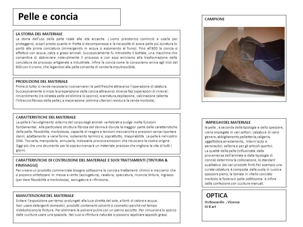 Pelle e concia OPTICA 1 CAMPIONE LA STORIA DEL MATERIALE