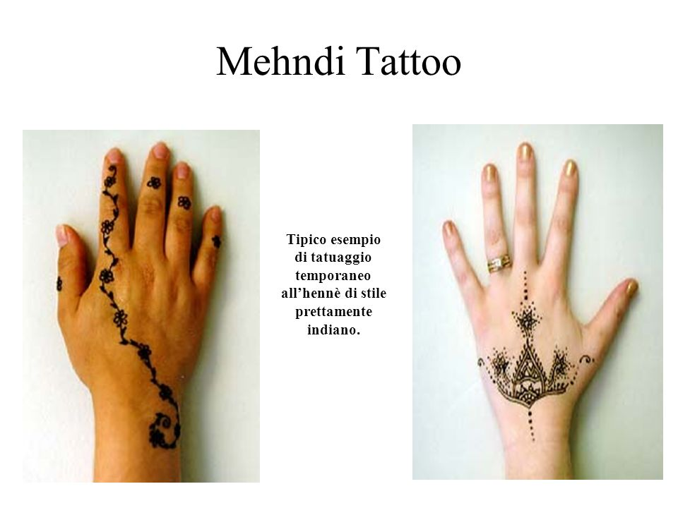 Mehndi Tattoo Tipico esempio di tatuaggio temporaneo all'hennè di stile prettamente indiano.