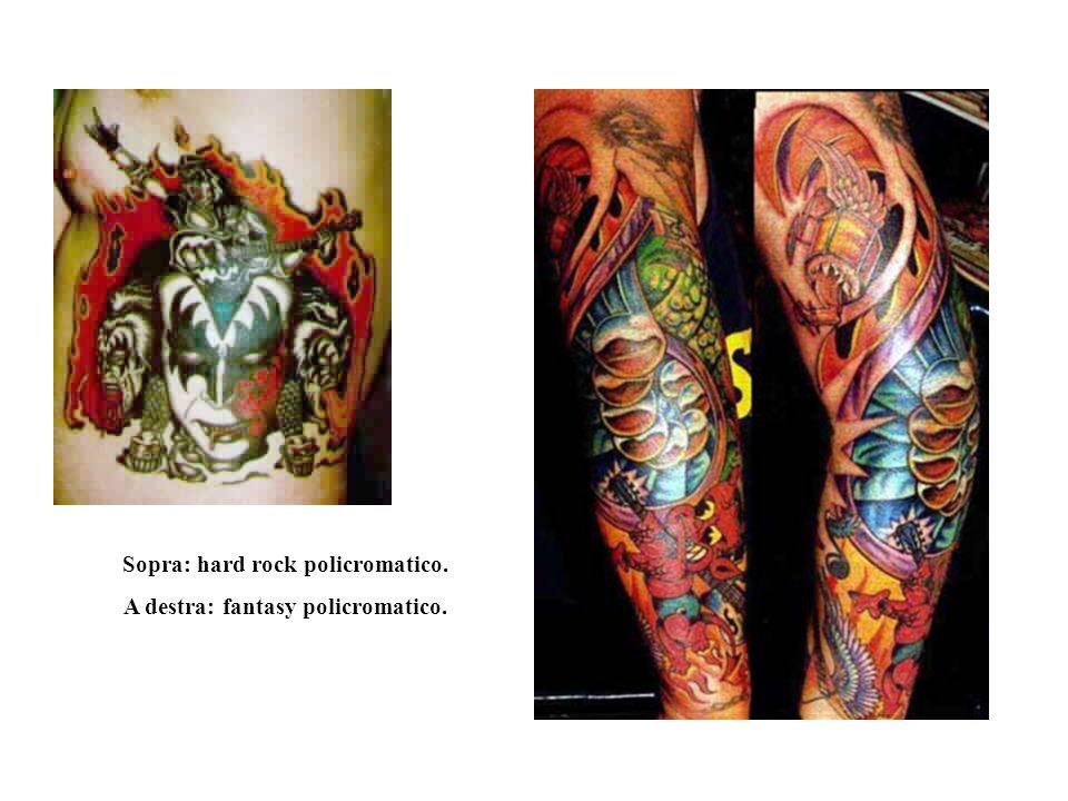 Sopra: hard rock policromatico. A destra: fantasy policromatico.