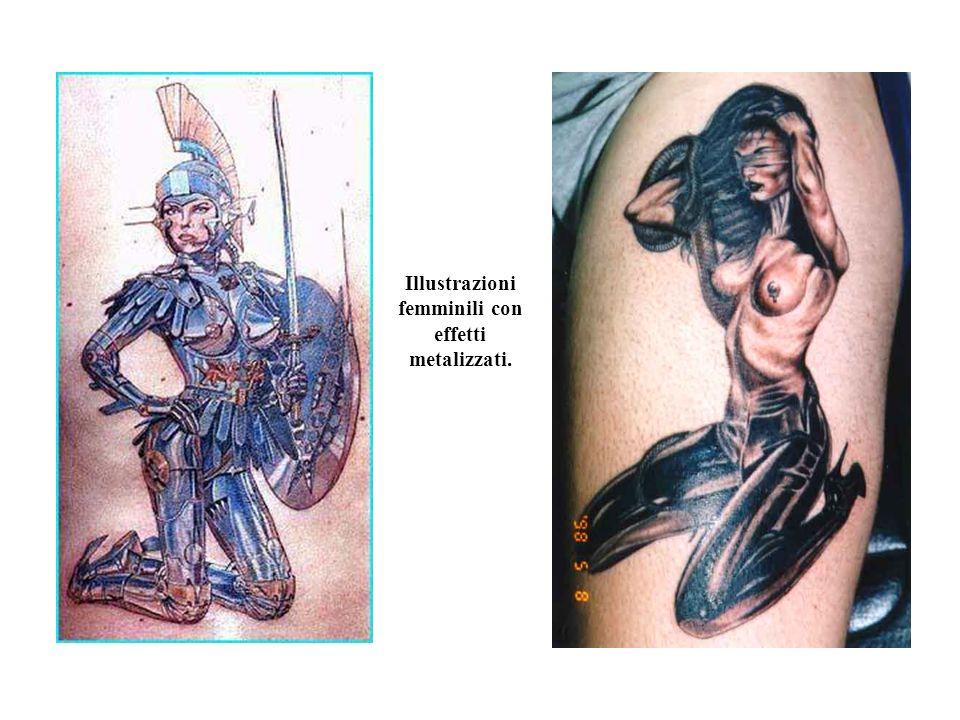 Illustrazioni femminili con effetti metalizzati.