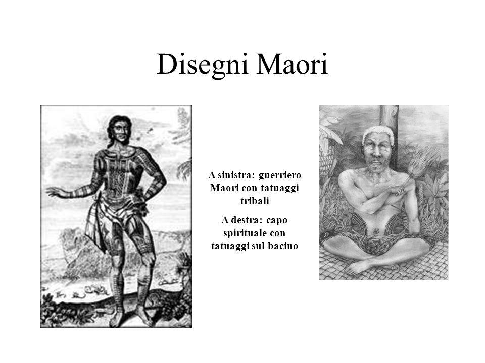 Disegni Maori A sinistra: guerriero Maori con tatuaggi tribali