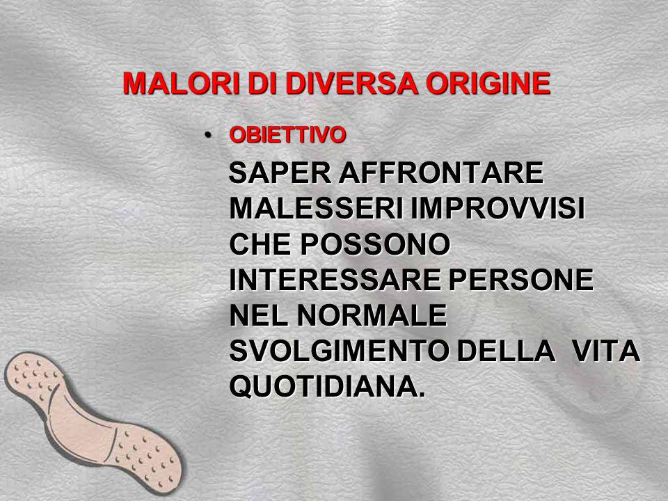 MALORI DI DIVERSA ORIGINE