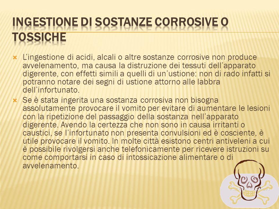 Ingestione di sostanze corrosive o tossiche