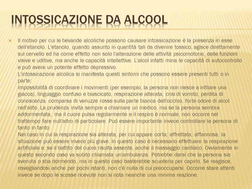 INTOSSICAZIONE DA ALCOoL
