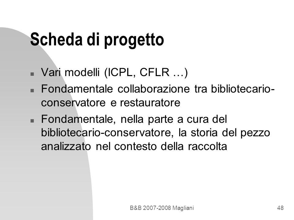Scheda di progetto Vari modelli (ICPL, CFLR …)