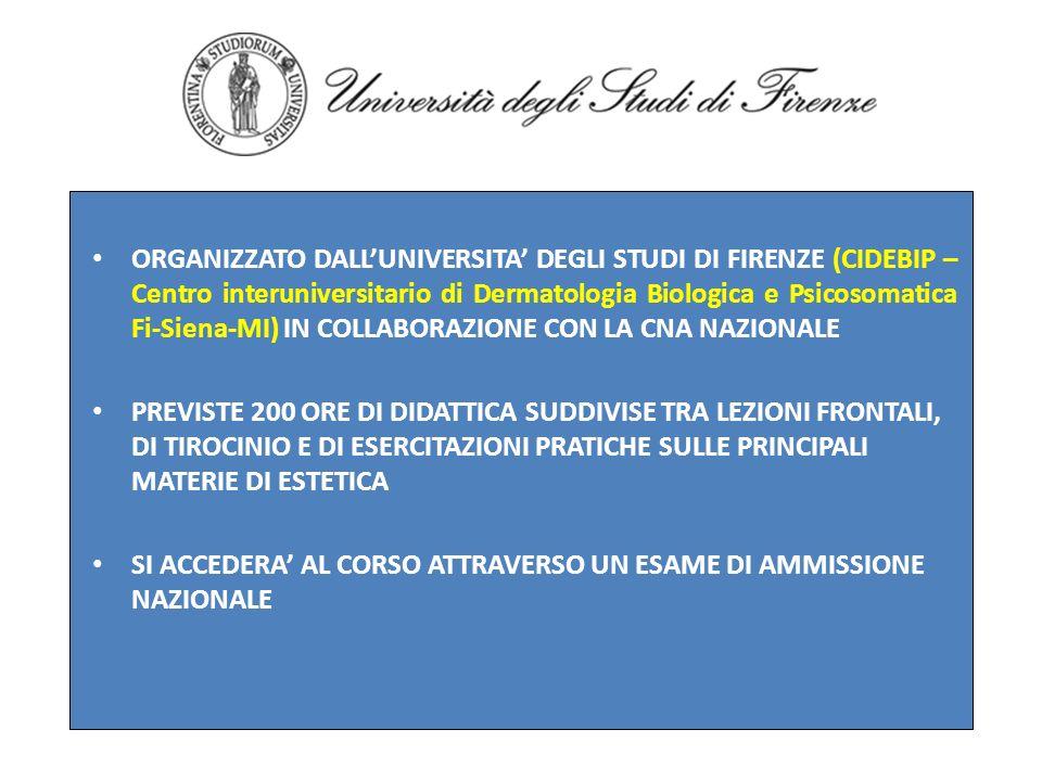 ORGANIZZATO DALL'UNIVERSITA' DEGLI STUDI DI FIRENZE (CIDEBIP – Centro interuniversitario di Dermatologia Biologica e Psicosomatica Fi-Siena-MI) IN COLLABORAZIONE CON LA CNA NAZIONALE