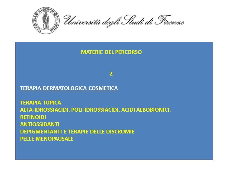 MATERIE DEL PERCORSO2. TERAPIA DERMATOLOGICA COSMETICA. TERAPIA TOPICA. ALFA-IDROSSIACIDI, POLI-IDROSSIACIDI, ACIDI ALBOBIONICI.