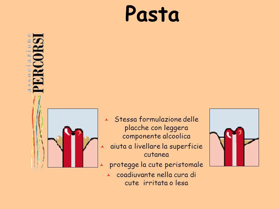 Pasta Stessa formulazione delle placche con leggera componente alcoolica. aiuta a livellare la superficie cutanea.