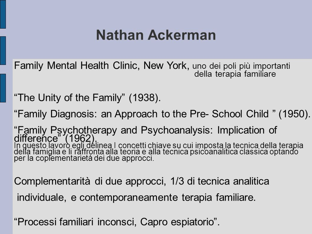Nathan Ackerman Family Mental Health Clinic, New York, uno dei poli più importanti. della terapia familiare.