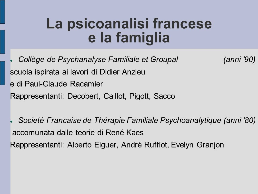 La psicoanalisi francese e la famiglia