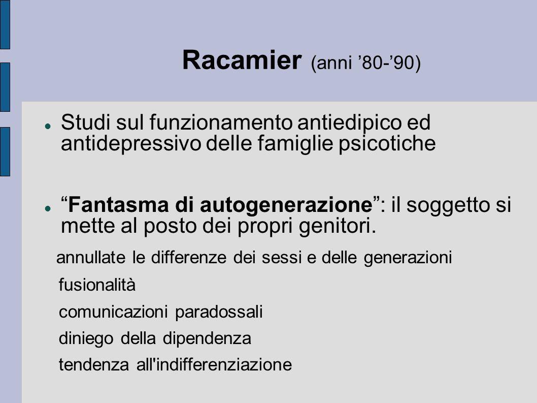 Racamier (anni '80-'90) Studi sul funzionamento antiedipico ed antidepressivo delle famiglie psicotiche.