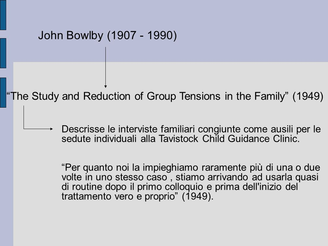 John Bowlby (1907 - 1990)‏ The Study and Reduction of Group Tensions in the Family (1949)‏