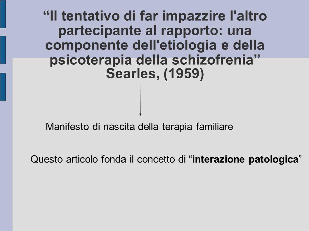 Il tentativo di far impazzire l altro partecipante al rapporto: una componente dell etiologia e della psicoterapia della schizofrenia Searles, (1959)