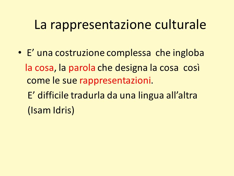 La rappresentazione culturale