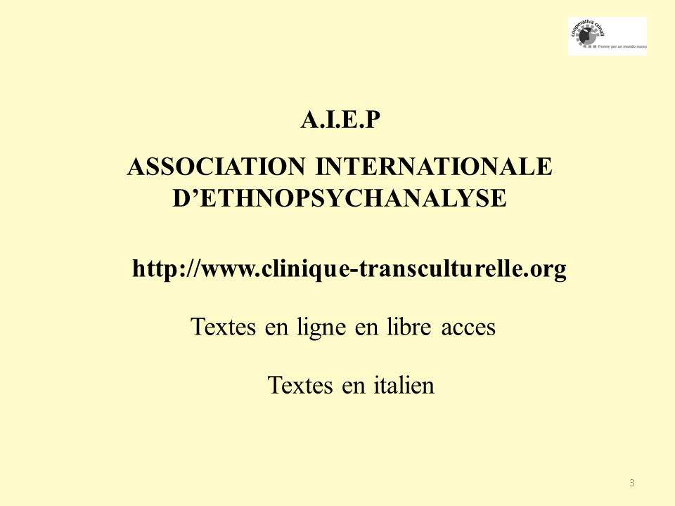 ASSOCIATION INTERNATIONALE D'ETHNOPSYCHANALYSE