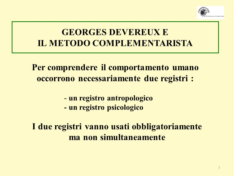 GEORGES DEVEREUX E IL METODO COMPLEMENTARISTA
