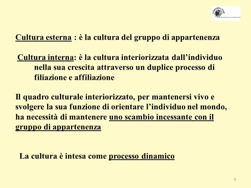 Cultura esterna : è la cultura del gruppo di appartenenza