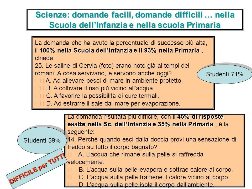 Scienze: domande facili, domande difficili … nella Scuola dell'Infanzia e nella scuola Primaria