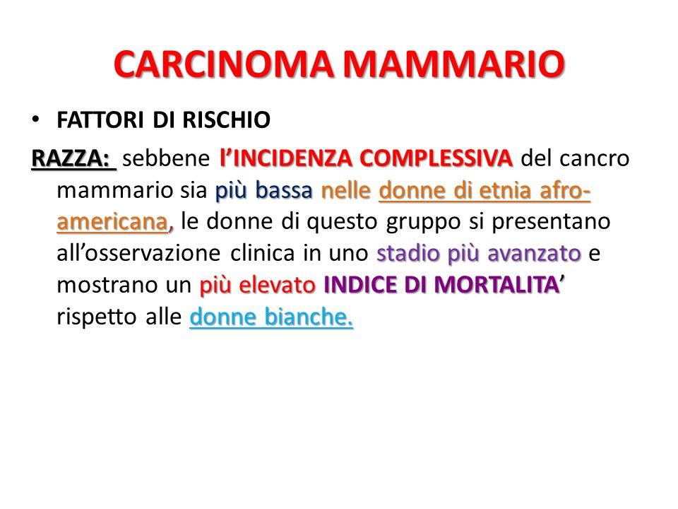 CARCINOMA MAMMARIO FATTORI DI RISCHIO