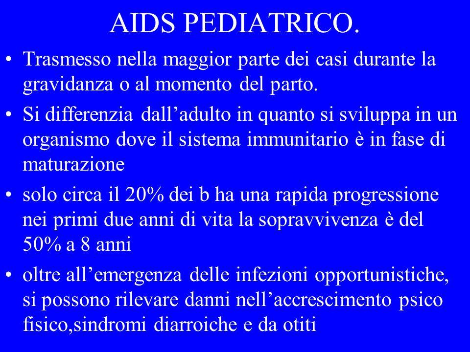 AIDS PEDIATRICO. Trasmesso nella maggior parte dei casi durante la gravidanza o al momento del parto.