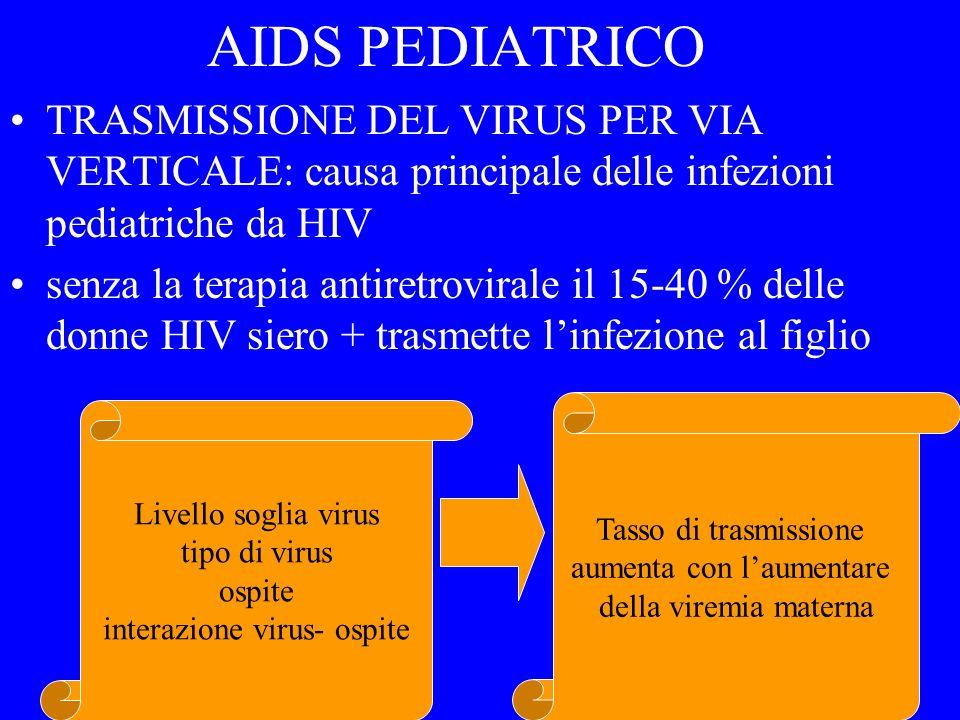 AIDS PEDIATRICO TRASMISSIONE DEL VIRUS PER VIA VERTICALE: causa principale delle infezioni pediatriche da HIV.